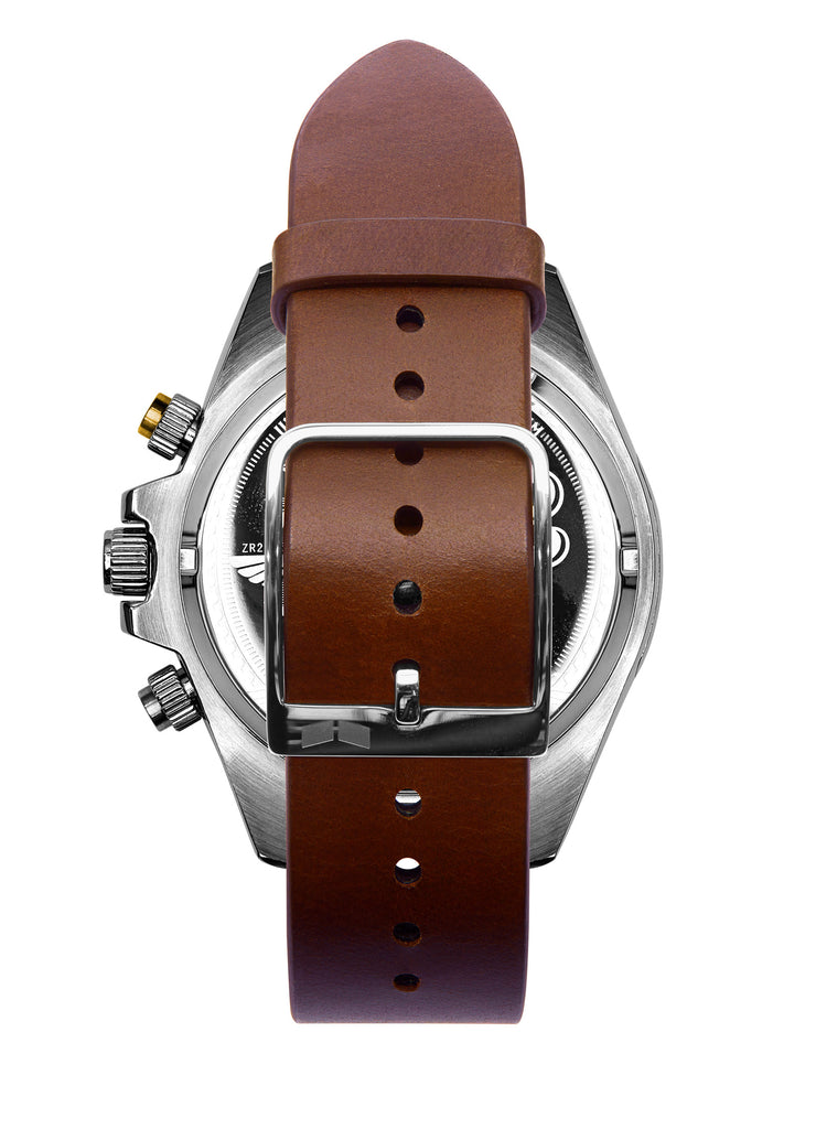 Vestal ZR-2 Italian Leather Watch | Cordovan/Silver/Marine-Gold