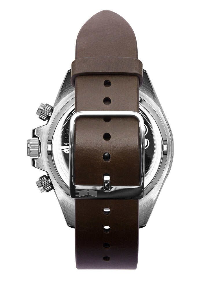 Vestal ZR-2 Italian Leather Watch | Dark Brown/Silver/Marine-Silver