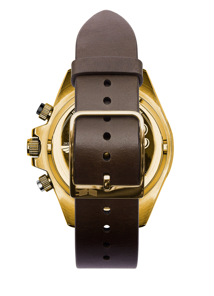 Vestal ZR-2 Italian Leather Watch | Dark Brown/Gold/Black