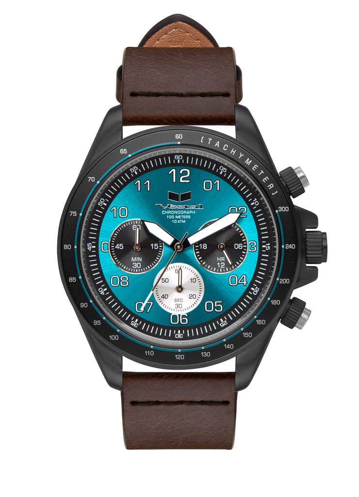 Vestal ZR-2 Italian Leather Watch | Dark Brown/Black/Teal