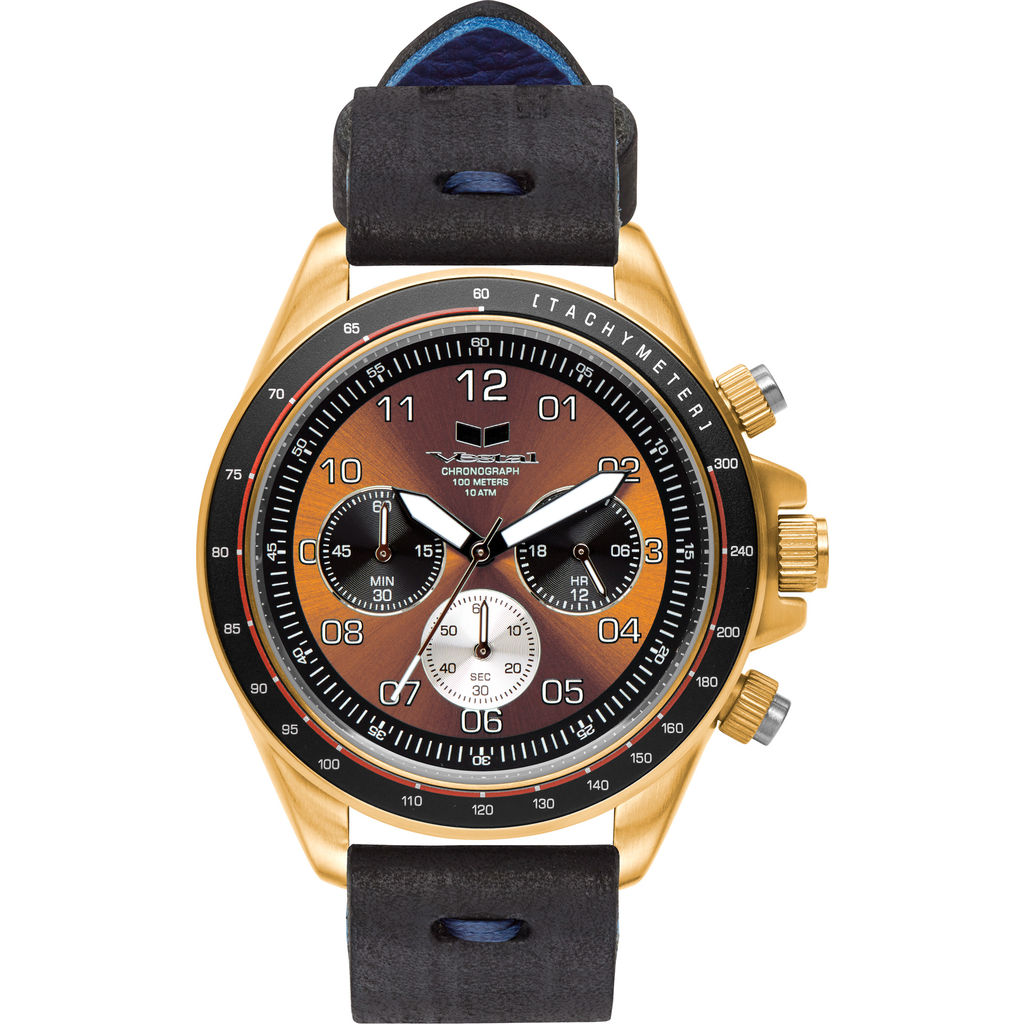 Vestal ZR-2 Makers Watch | Black-Blue/Gold/Orange