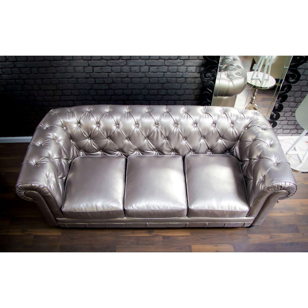 ... TOV Furniture Zahara Leather Sofa | Silver  TOV S24 ...