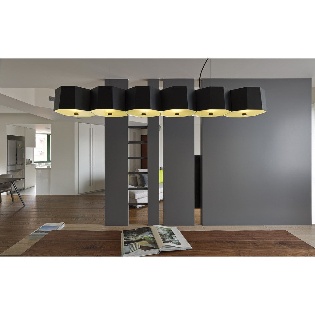 Seed Design Zhe Large Pendant Lamp | Black SQ-2322MPL6-BK