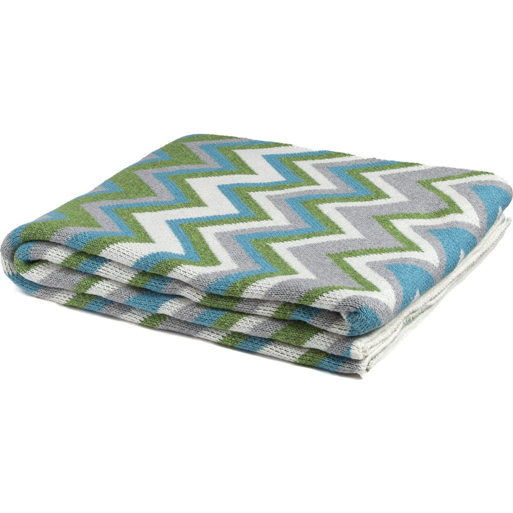 in2green Zigzag Eco Throw | Aqua/Aluminum BL01ZZ11
