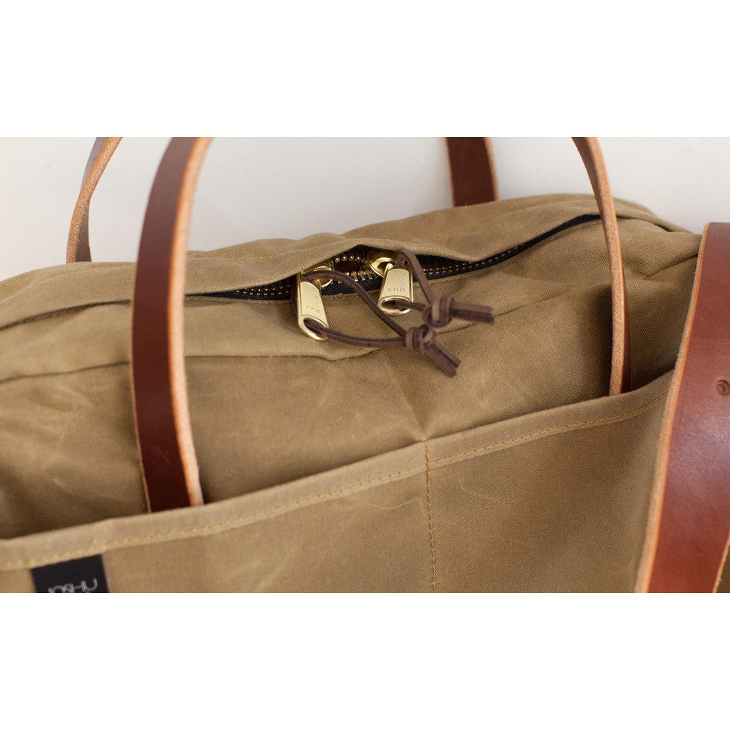 Joshu + Vela Zip Briefcase | Safari Tan Wax