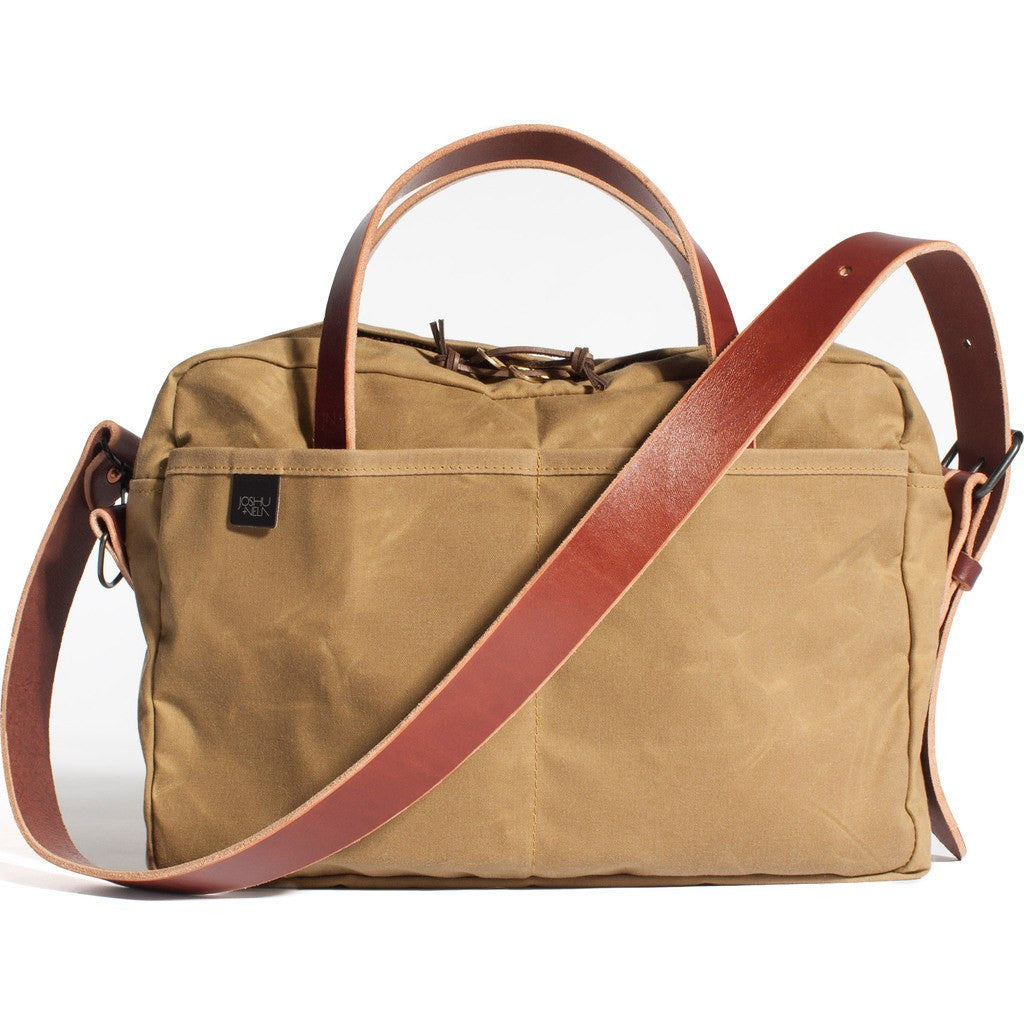 Joshu+Vela Zip Briefcase | Safari Tan Wax JV1100-SAFAR