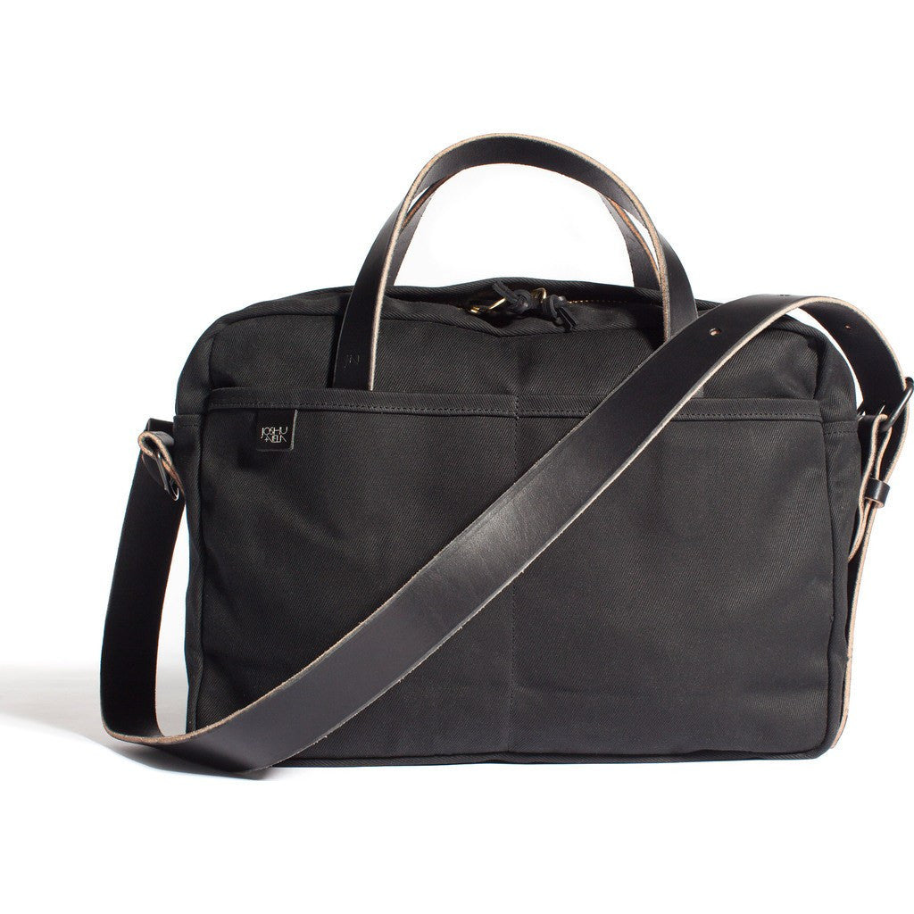 Joshu+Vela Zip Briefcase | Black Twill JV0450-BLACK