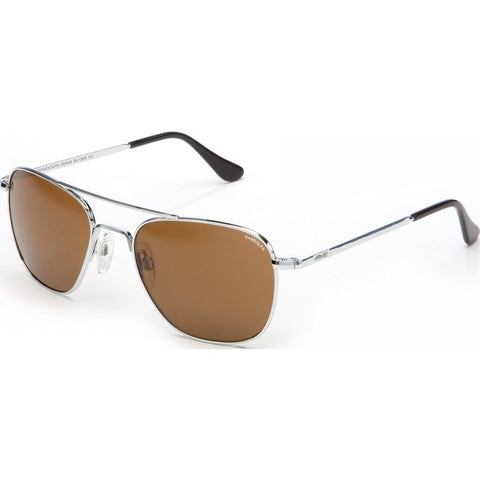 Randolph Engineering Aviator Bright Chrome Sunglasses | Tan Polarized Glass Bayonet