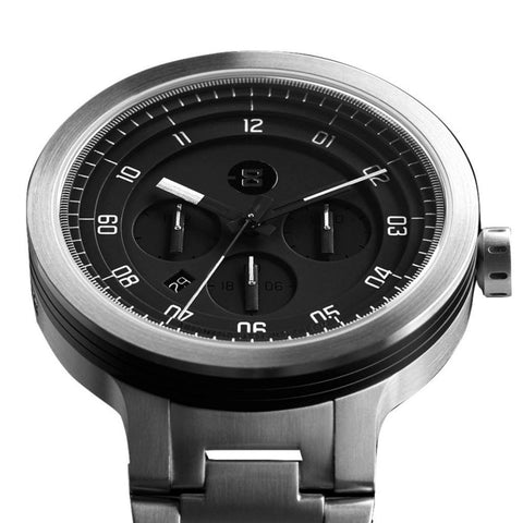 Minus-8 Layer 24 Silver/Black Automatic Watch | Steel P024-004-BS-ML