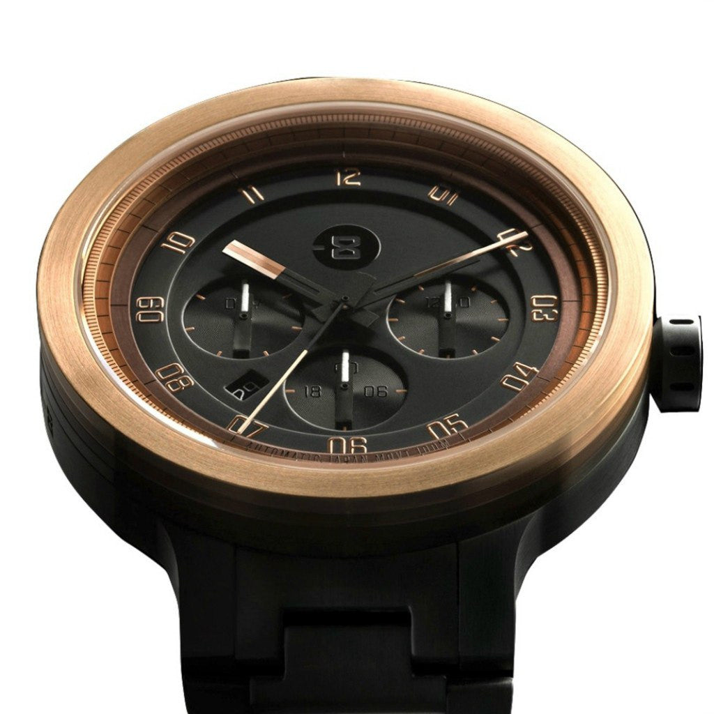 Minus-8 Layer 24 Gold/Black Automatic Watch | Steel P024-004-BG-ML