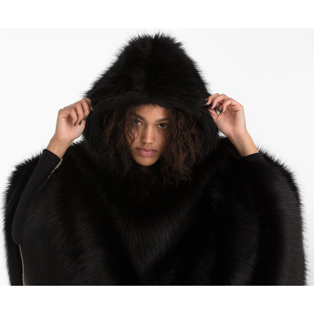 Cleverhood Fur Rain Cape | Black Bear Faux Fur/Creme Corduroy