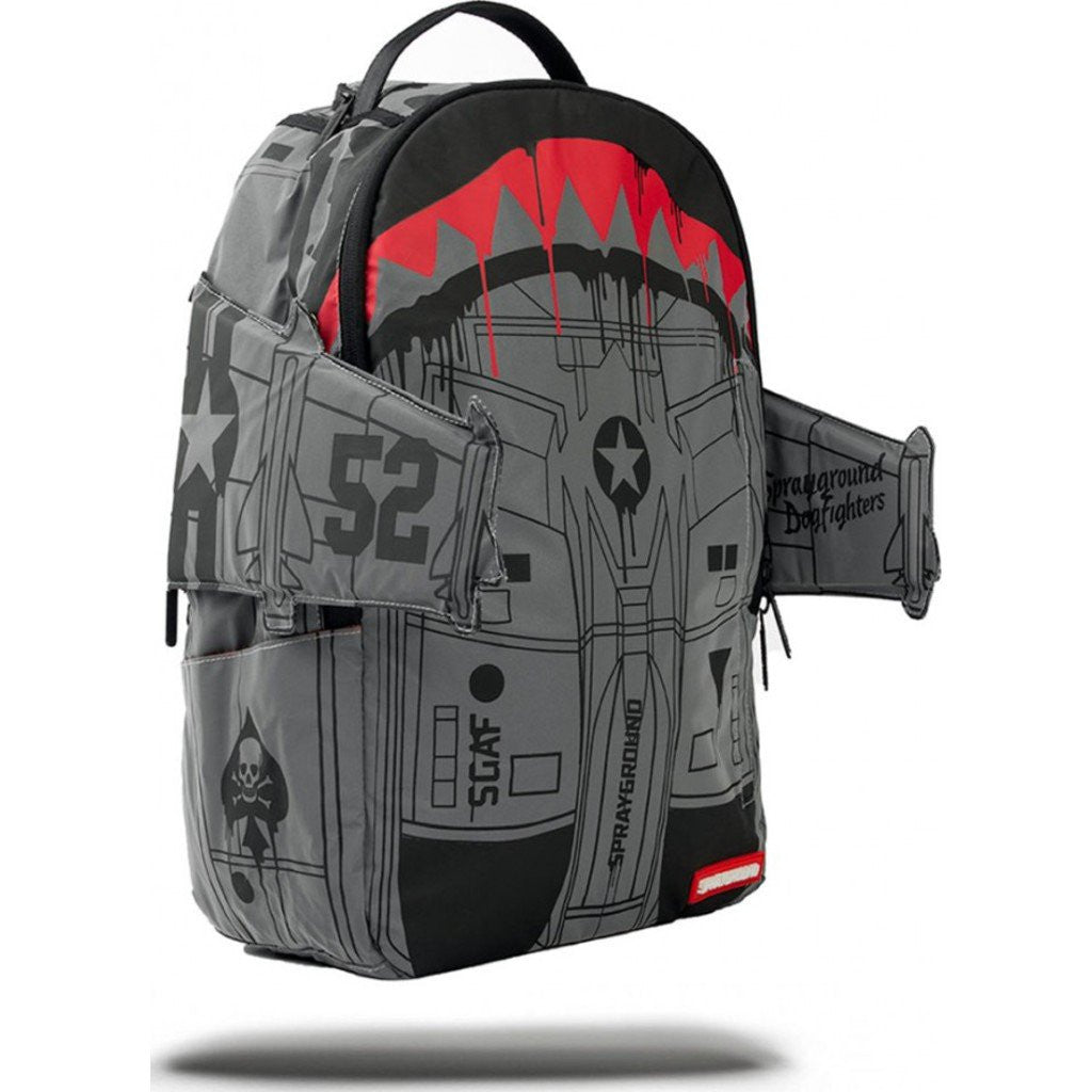 Sprayground Reflective Bomber Wings Backpack | Black/White/Grey