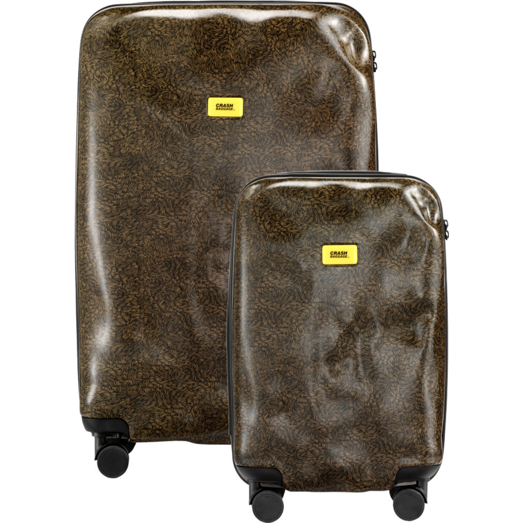 Crash Baggage Set of 3 Surface Trolley Suitcases | Brown Fur CB120-31