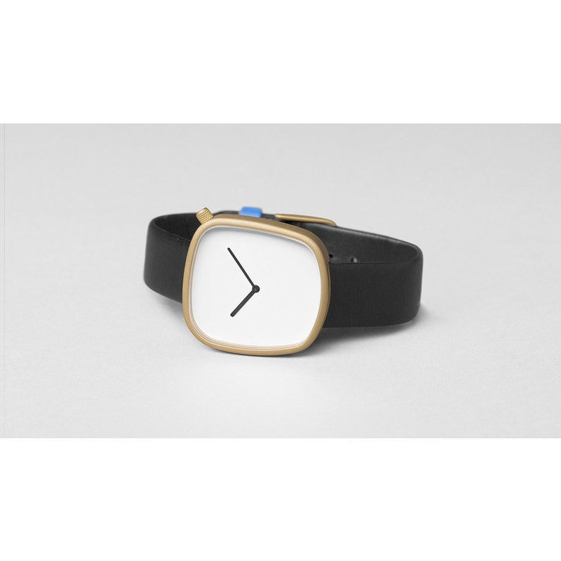 bulbul Pebble 07 Men's Watch | Matte Golden Steel on Black Italian Leather+