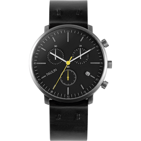 Paulin C201 Chronograph B Watch | Black C201-B-BR-SL-BLA-BRI 40mm