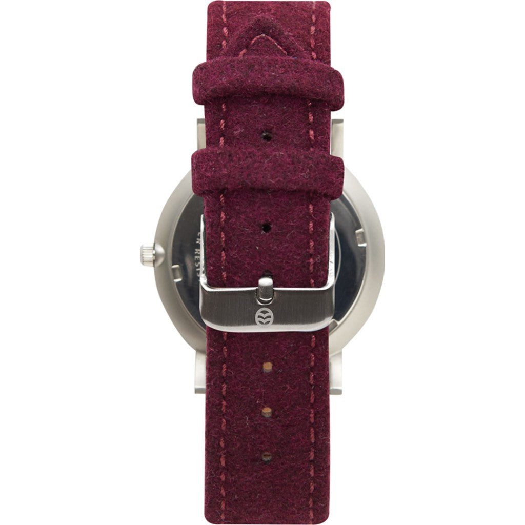 Shore Projects Cowes Watch with Wool Strap | Silver / Burgundy S034S