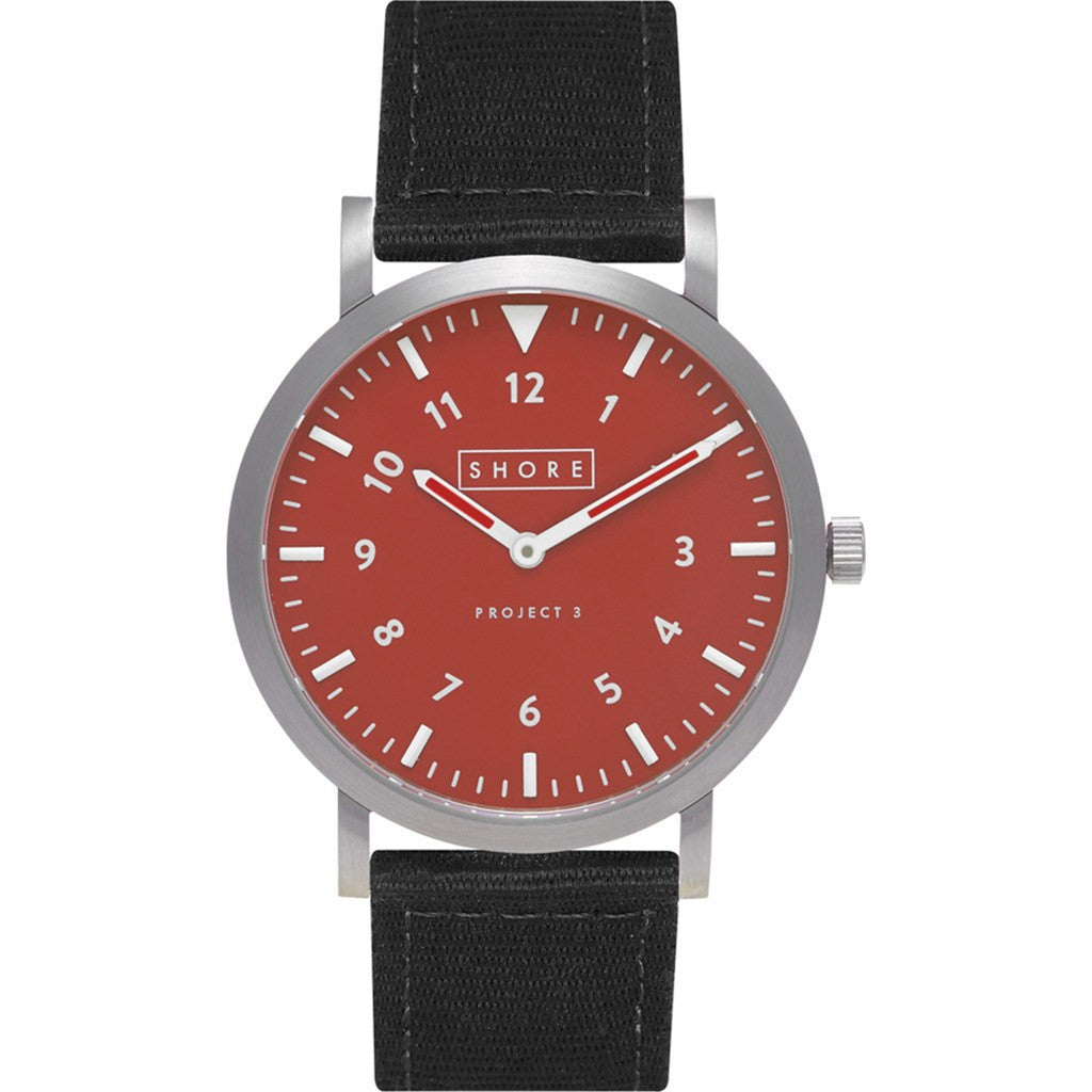 Shore Projects Camber Watch with Classic Strap   Silver / Red / Black