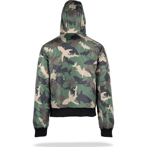 Sprayground Shark Camo Shark Mouth Down Coat Mens | Camo Green