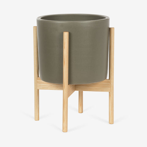 Modernica Case Study Small Cylinder With Wood Stand | Pebble CER-W-CYL-11.5-10-BWA-PEB