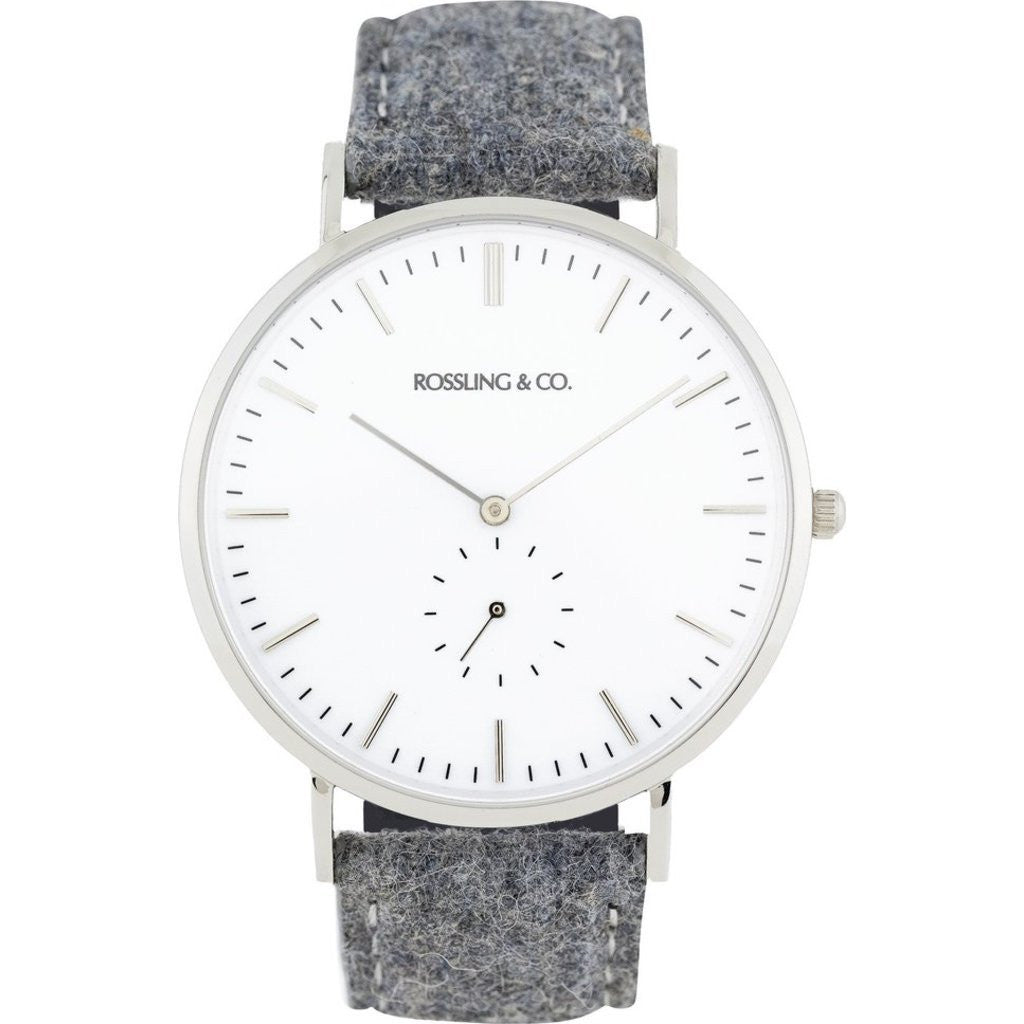Rossling & Co. Classic 40mm Stirling Watch | Silver/White/Silver RO-001-007