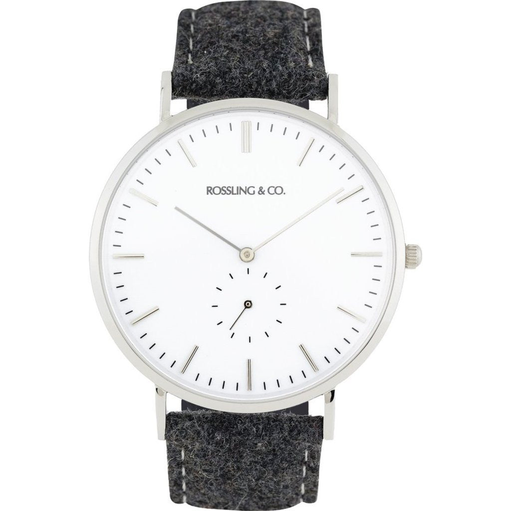 Rossling & Co. Classic 40mm Glencoe Watch | Silver/White/Silver RO-001-006