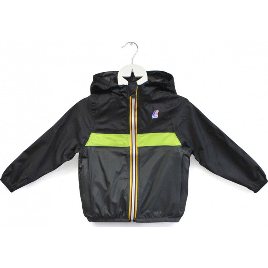 K-Way Claude Color Block Kids 3.0 Jacket | Black/Acid Green/Grey K004BD0CBK
