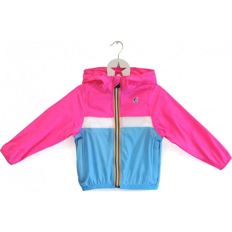 K-Way Claude Color Block Kids 3.0 Jacket | Fuxia Fluo/White/Blue K004BD0CBK