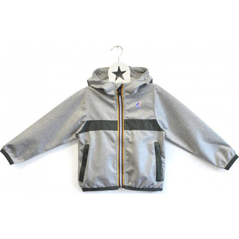 K-Way Claude Laminated Kids 3.0 Jacket| Heather Grey/Torba Trim-K004BD0KL  sz 6y