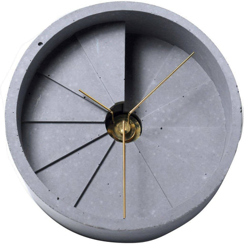 30 Design 4th Dimension Concrete Table Clock | Gold / Gray CC02000