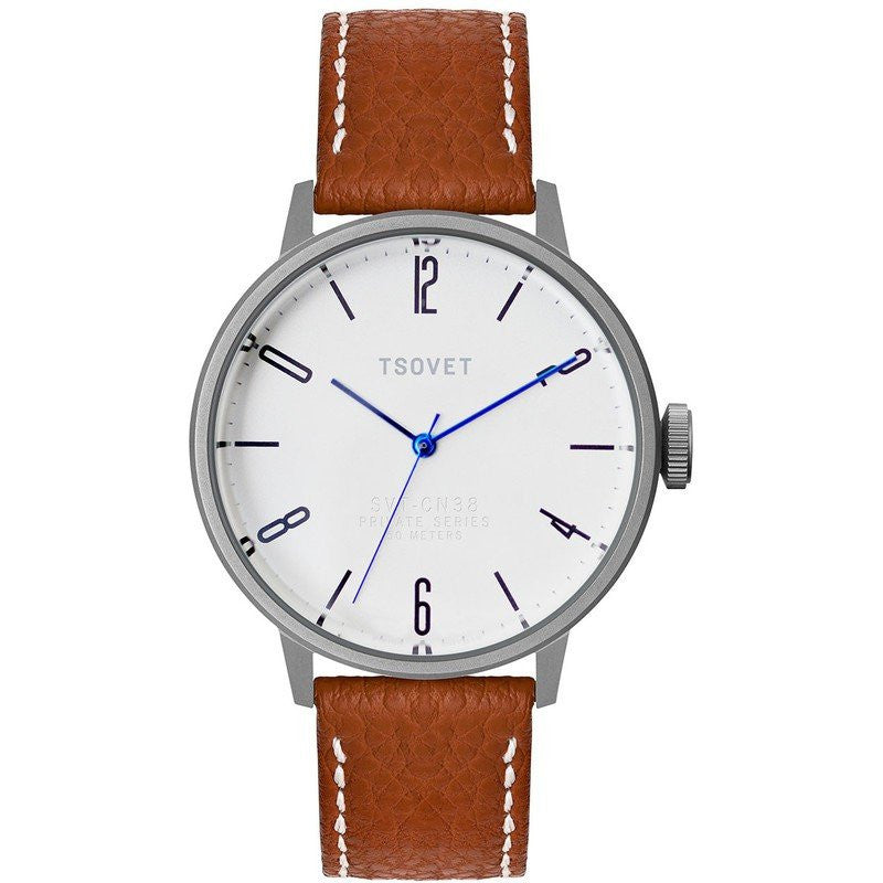 Tsovet SVT-CN38 Swiss Quartz Silver & White Watch | Rouille Leather