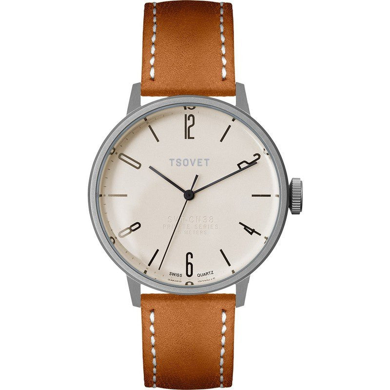 Tsovet SVT-CN38 Swiss Quartz Steel & Matte Champagne Watch | Brown Leather