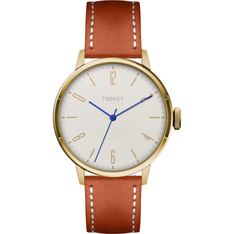 Tsovet SVT-CN38 Gold & White Watch | Tan Leather CN441513-68