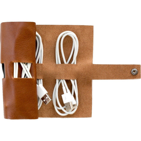 This is Ground Cordito Rollup Cord and Plug Organizer | Cognac CORD-CGNC