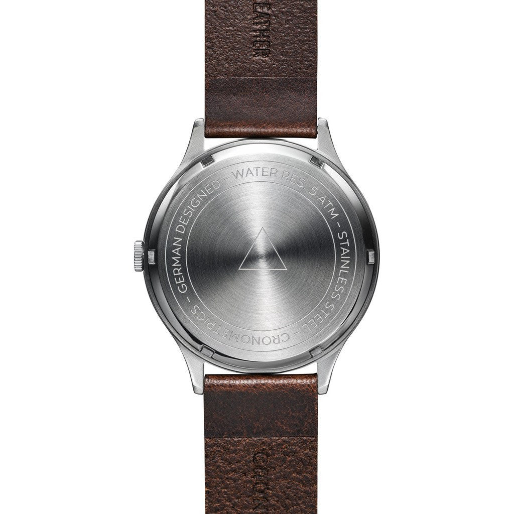 Cronometrics The Architect Brushed Steel Watch | Dark Brown Italian Leather CM01WL09