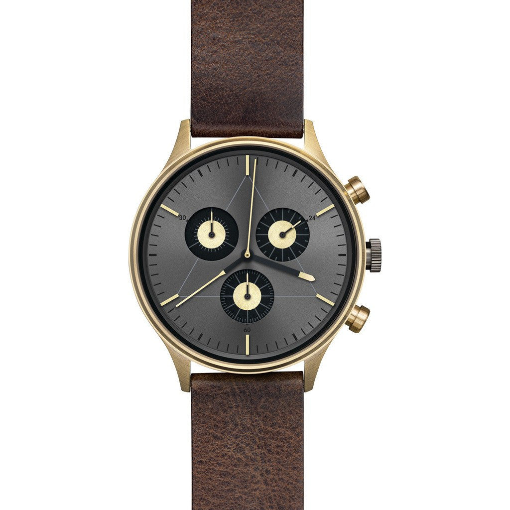 Cronometrics The Engineer PVD Gold Watch | Dark Brown Italian Leather CM02WL19