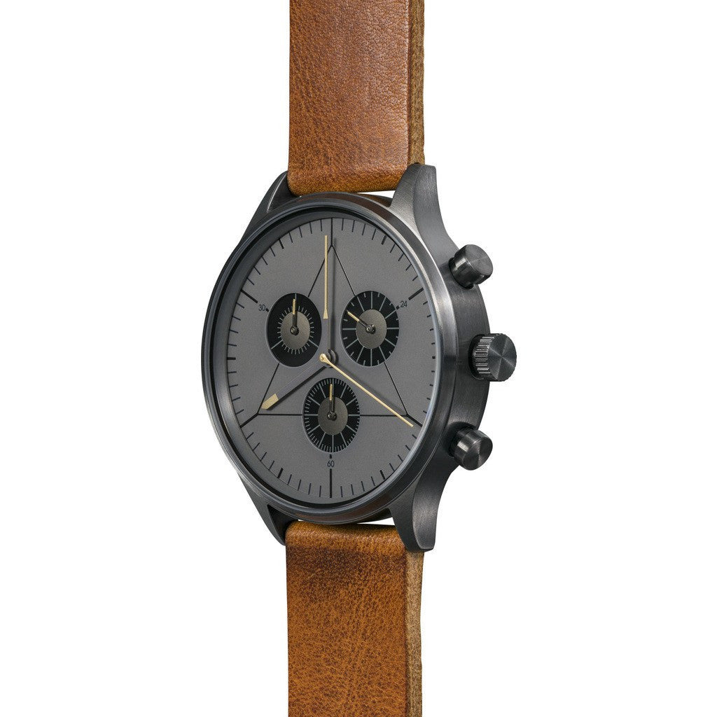 Cronometrics The Engineer PVD Gunmetal Watch | Brown Italian Leather CM02WL21