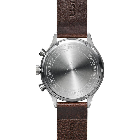 Cronometrics The Engineer Brushed Steel Watch | Dark Brown Italian Leather CM02WL12