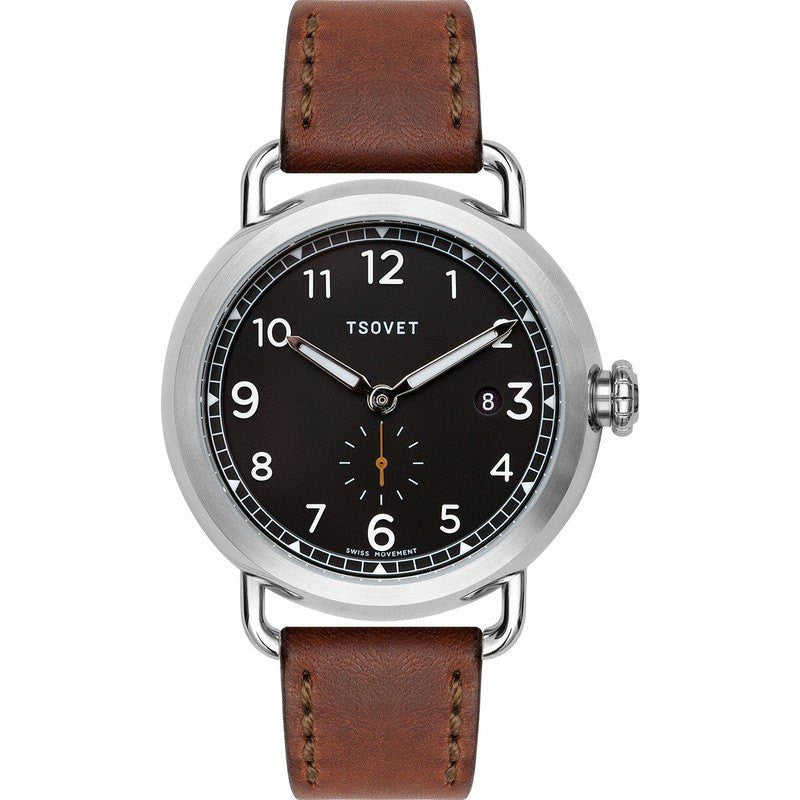 Tsovet SVT-CV43 Swiss Quartz Steel & Matte Black Watch | Brown Leather