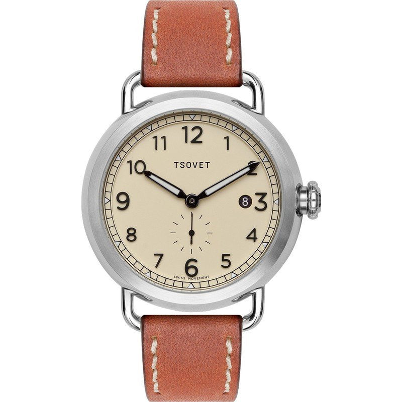 Tsovet SVT-CV43 Swiss Quartz Steel & Matte Beige Watch | Tan Leather