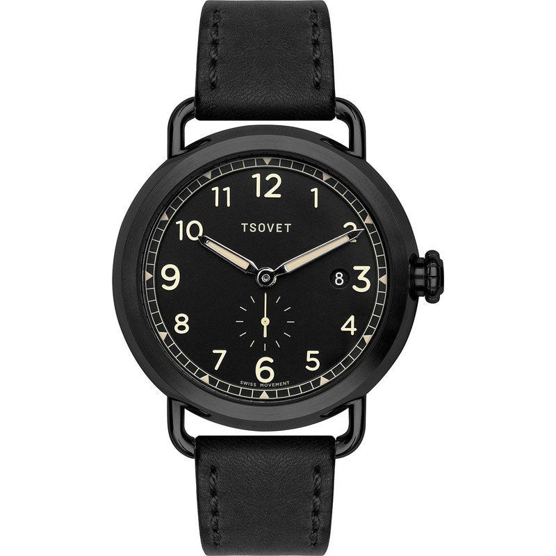Tsovet SVT-CV43 Swiss Quartz Black Steel Watch | Black Leather