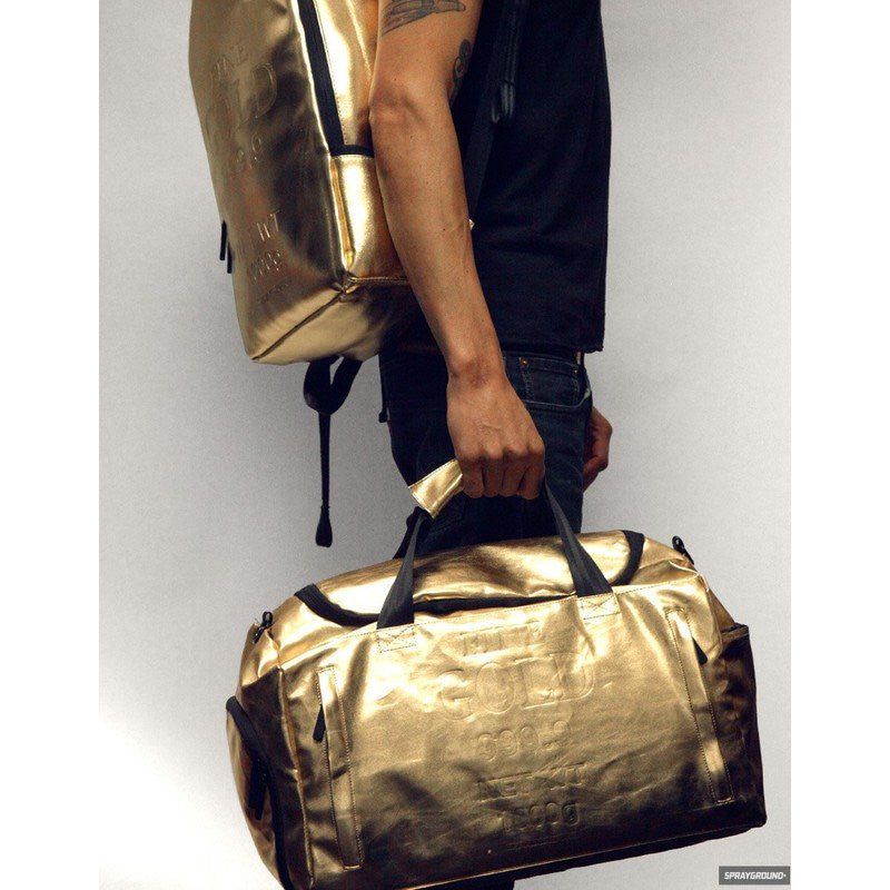 Sprayground Gold Weekender Duffel Bag | Gold Brick D030