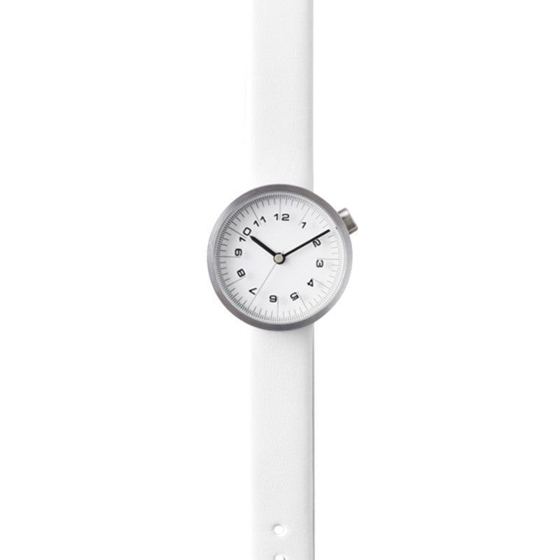 Nendo Womens Draftsman 01. Scale Watch | White Leather