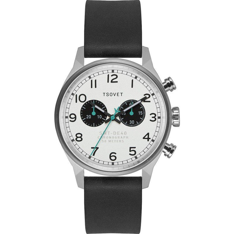Tsovet SVT-DE40 Chronograph Steel & White Watch | Black Leather DE110110-40