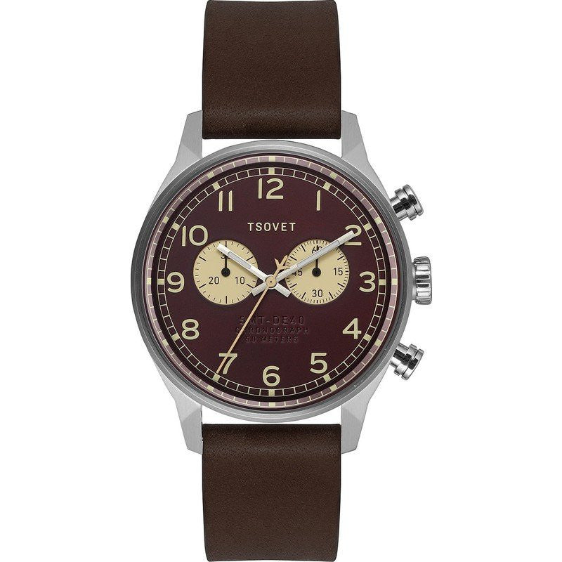 Tsovet SVT-DE40 Chronograph Silver & Burgundy Watch | Brown Leather DE113012-43