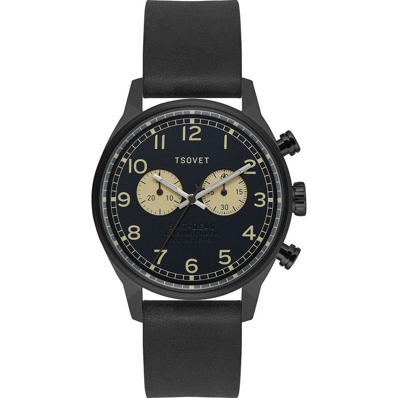 Tsovet SVT-DE40 Chronograph Black & Beige Watch | Black Leather DE331010-43