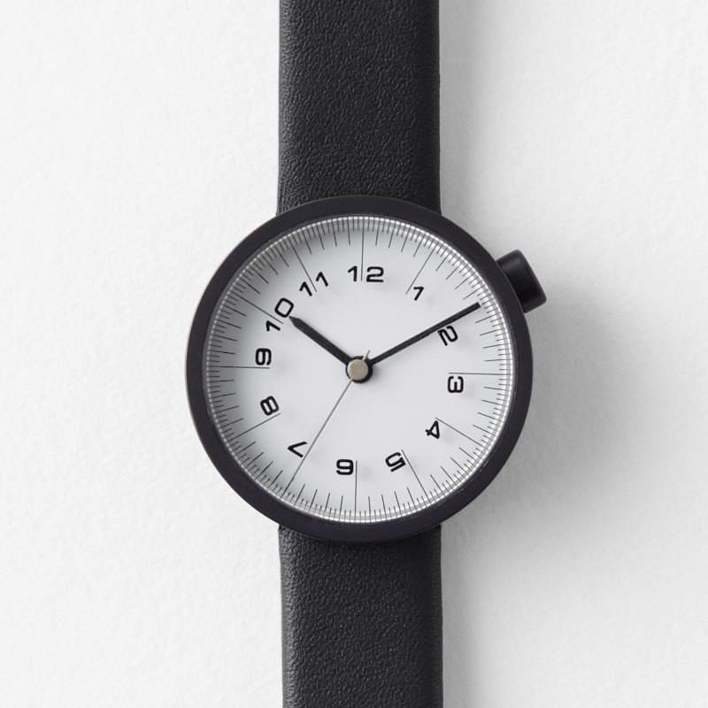Nendo Womens Draftsman 01. Scale Watch | Black Leather