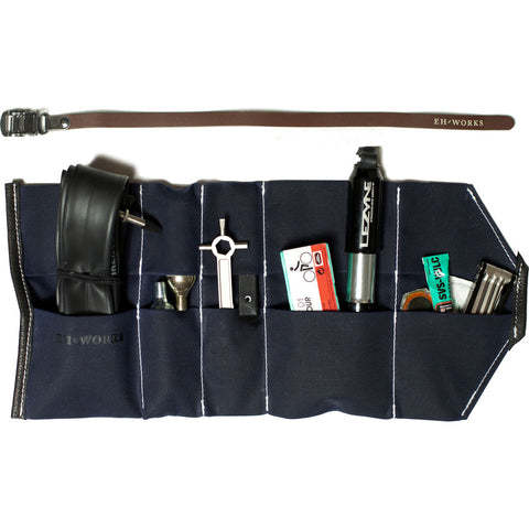 EH Works Essential Bike Tool Roll | Navy with Brown Strap ESSNBR