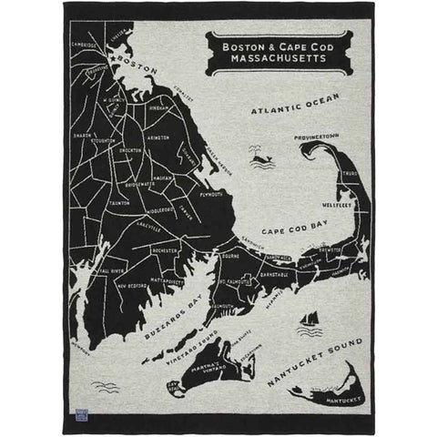 Faribault Boston Map Wool Throw | Black BTCDBK1126