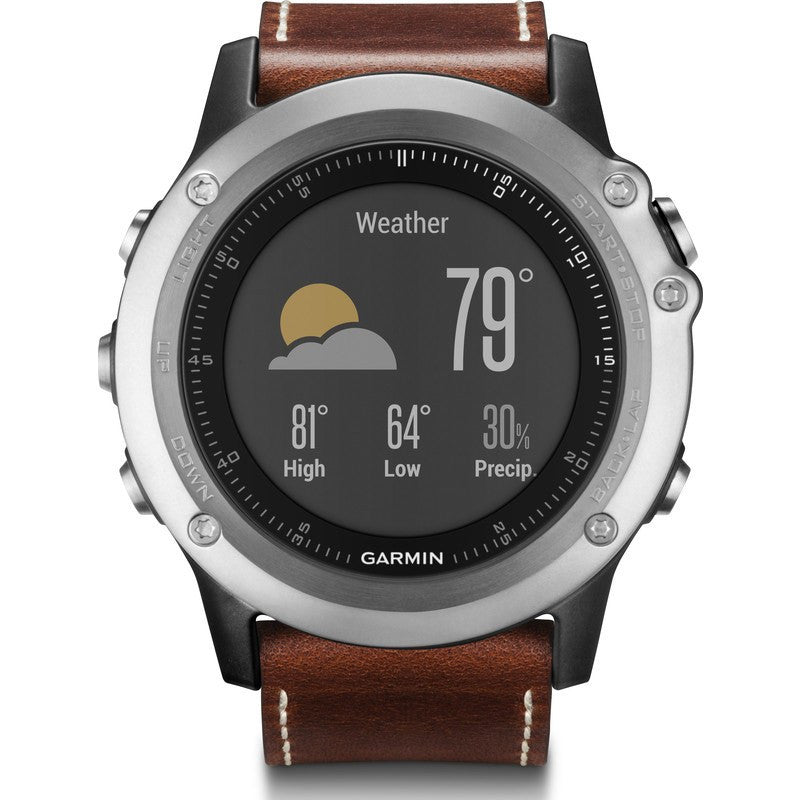 Garmin Fenix 3 Sapphire Multi-Sport GPS Watch Leather ...
