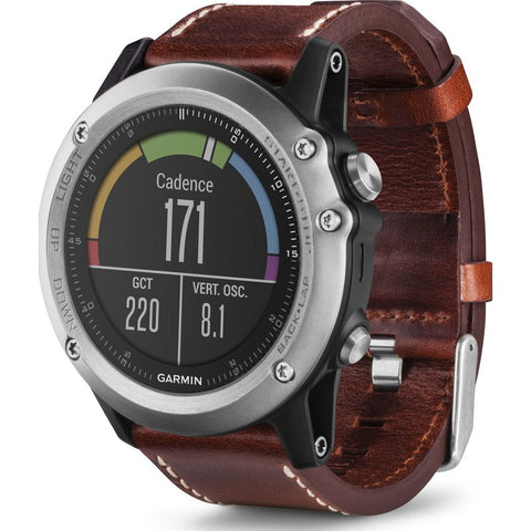 Garmin Fenix 3 Sapphire Multi-Sport GPS Watch | Silver/Leather
